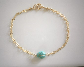 Tiny Turquoise Ladybug Bracelet, Ladybug Bracelet, Gold Bracelet, Minimalist Jewelry, Simple, Everyday