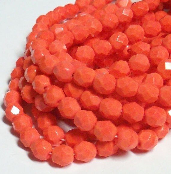 Czech Fire-Polished Glass Faceted Round - 6mm - Opaque Coral - 20 Beads