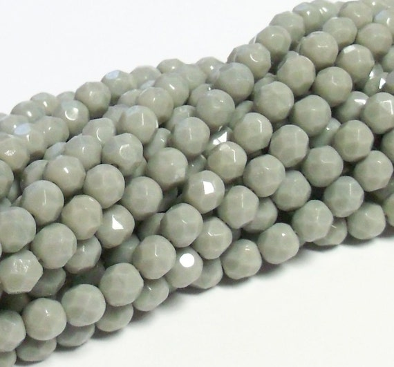Czech Fire-Polished Glass Faceted Round - 6mm - Opaque Grey - 20 Beads