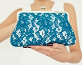 Wedding  Purse Peacock Teal Blue Romantic  Lace Large Size Clutch Ready to Ship