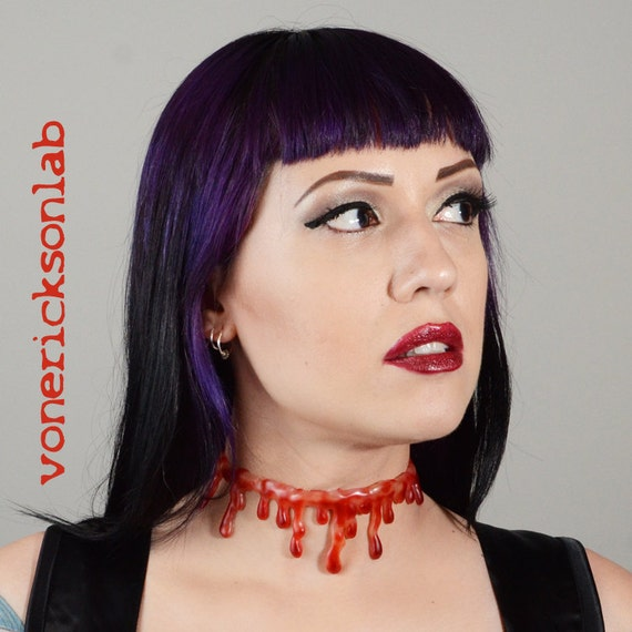 Zombie Jewelry-  Puss-Filled Blood drip - Halloween Jewelry - Natural Bloody Drip   Necklace - Vampire Slit throat  choker  necklace
