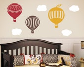 Hot Air Balloon Wall Decals, Childrens Wall Decals, Nursery Wall Art, Hot Air Balloon Wall Stickers, Large Size