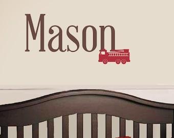 Fire Truck Name Wall Decal - Nursery Children Boy