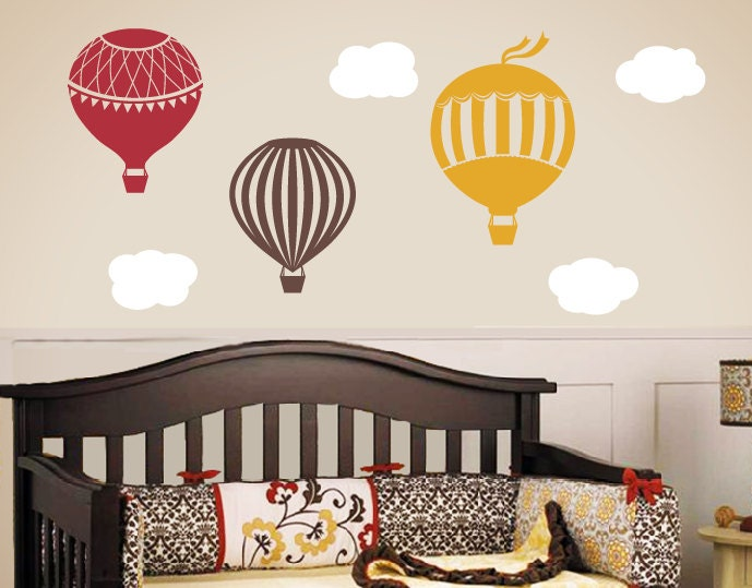 ... Childrens Wall Decals, Nursery Wall Art, Hot Air. 🔎zoom