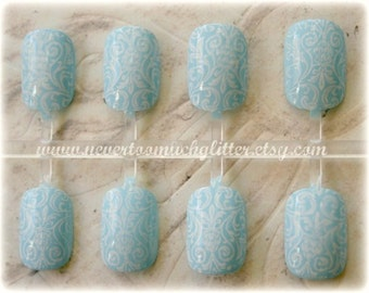 Florentine. Romantic Fake Nails- Choose Your Color, Press On Nails for Brides, Something Blue, Bridal and Wedding False Nails Set