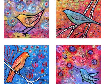 "SAVE 8"" x 8"" bird prints - Set of 4 - Gallery Wrap Canvas Print - colorful, whimsical birds"