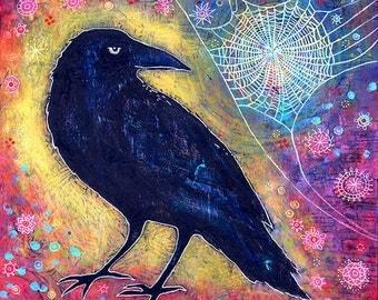 Raven Canvas Print. Raven Artwork. Spiderweb Print. Titled Mr. Raven, Meet Miss Web. Mystical Art. Whimsical Bird Art. Gifts for Her.