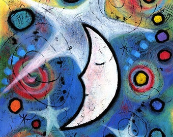 "Whimsical Moon Print 11"" x 14"" Moonheadmama Nursery Art - ""The Stars Kept Watch Over Milo Moon"""