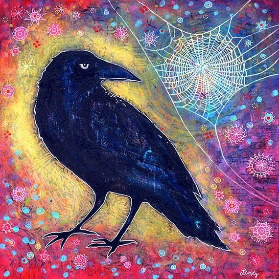 Raven Gallery Wrapped Canvas Print - Mr. Raven, Meet Miss Web