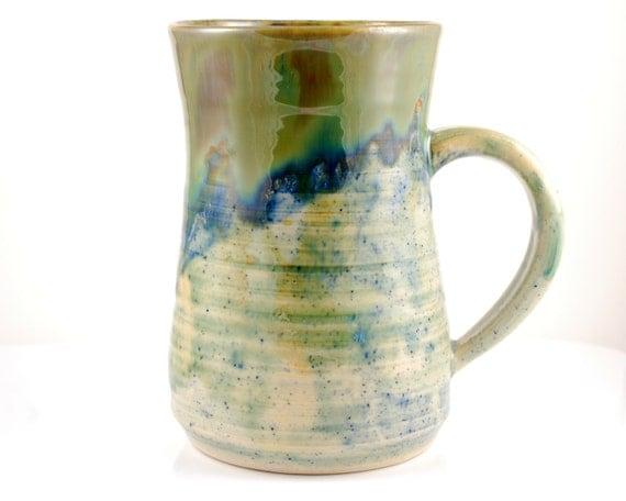 Extra Large Ceramic Mug Blue and Green
