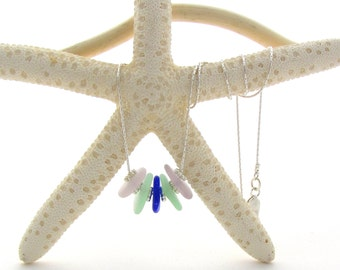 Sterling Silver Necklace w/Beach Glass - Lavender/Seafoam/Cobalt (5)