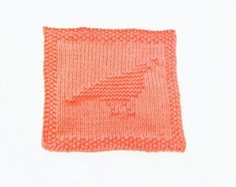 Hand Knit Burnt Orange Colored Quail/Partridge Dishcloth or Washcloth