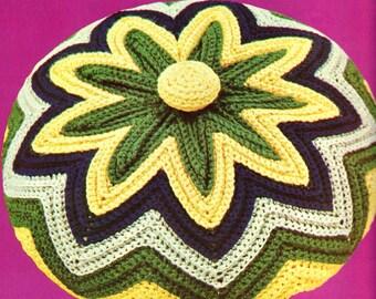 INSTANT DOWNLOAD PDF Vintage Crochet Pattern    Chevron Circular Cushion Pillow Cover  Retro
