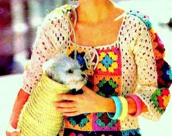INSTANT DOWNLOAD PDF Vintage Crochet Pattern  Granny Square Tunic Blouse Retro