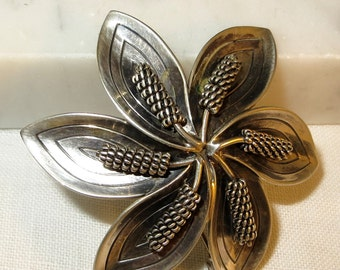 Aarre and Krogh Denmark Sterling Silver Modernist Flower Brooch A & K
