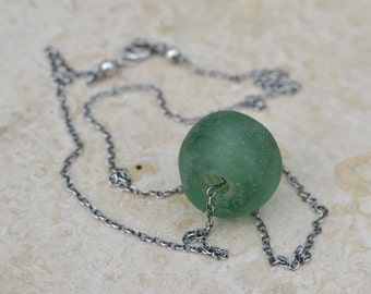 Recycled Green Glass and Oxidized Sterling Silver Necklace - Beached by SplendorVendor