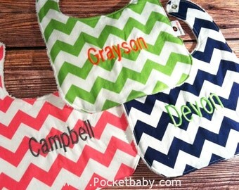 Personalized Bib - ONE Custom Bib with Personalization - You Choose your Fabric -  Baby Bib - Baby Shower Gift - by Pocketbaby