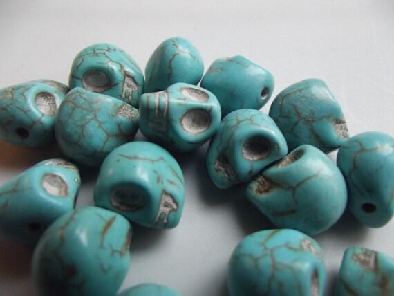 Turquoise Howlite Skull Beads - 5 Blue Skulls