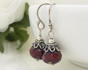 Dark red earrings, Red czech glass earrings, vintage style red bead earrings, red jewellery, sterling silver red dangle earrings