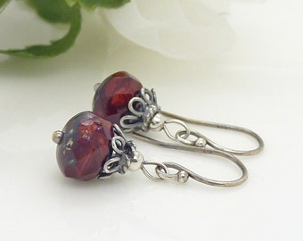 Dark red earrings, sterling silver, small red czech glass vintage style red bead dangle earrings