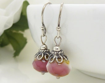Pink and white earrings, oxidized silver earrings, rose pink earrings with yellow, czech glass jewelry, pink beaded earrings