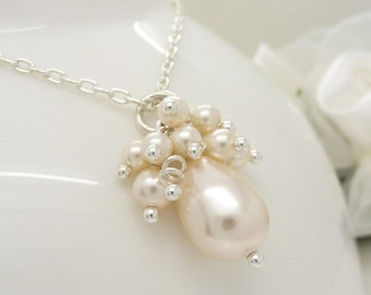 Wedding jewelry, Ivory pearl cluster necklace, Ivory pearl necklace, Sterling silver bridal jewellery