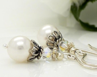 Wedding jewellery, Crystal and white pearl earrings, White pearl wedding earrings, Vintage style antique silver, White wedding earrings