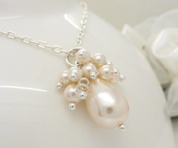 Wedding Jewelry Ivory Pearl Cluster Necklace Ivory Pearl