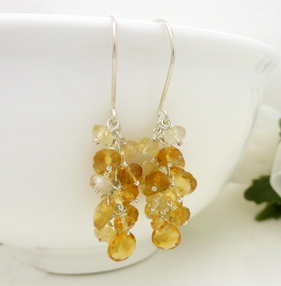 Sterling silver citrine earrings with golden yellow citrine gemstone clusters, silver and yellow citrine jewelry
