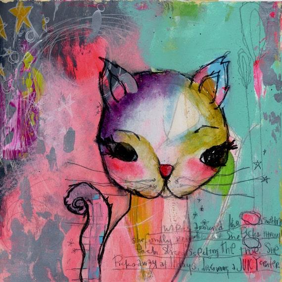 kitty. a happy little kelly barton print