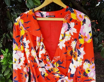 SALE - Ungaro SILK watercolor flowers wrap around dress - Made in Italy - ( Sz L / XL )