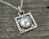Pearl Jewelry - Weddings - Tiny Square Single Pearl Necklace in Sterling Silver - Pearl Pendant on Chain