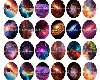 INSTANT DOWNLOAD...Galaxy... 18x25mm Oval Images Collage Sheet for Pendants ...Buy 3 get 1