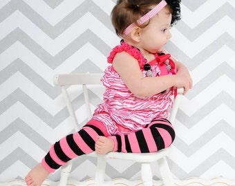 Pink and Black Striped Baby Leg Warmers