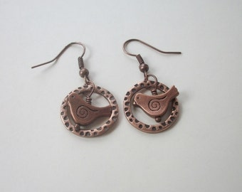 Vintage Copper Bird & Hoop Earrings - Dangle - Hammered Copper - Dainty Little Bird