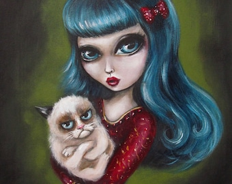 You Have To Ask My Cat big eyed girl holding Tard The  GRUMPY CAT Canvas PRINT by Nina Friday