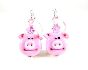 Pink Pig Earrings, Farm Animal Earrings, Pig Jewelry, Funny Earrings, Lampwork Earrings, Animal Earrings, Animal Jewelry - Charlotte & Abner