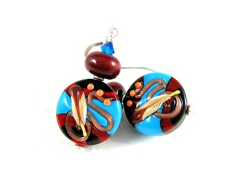 Southwestern Earrings, Lampwork Earrings, Southwestern Jewelry, Turquoise Red Black Earrings, Glass Earrings, Dangle Earrings - El Paso