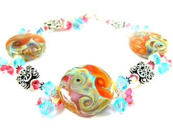 Southwestern Bracelet, Colorful Statement Bracelet, Lampwork Bracelet, Turquoise Blue Coral Glass Bracelet, Southwestern Jewlery - Fire Song