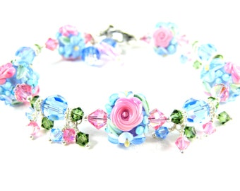 Pastel Floral Bracelet, Cottage Chic Jewelry, Lampwork Bracelet, Pink Light Blue Flower Bracelet, Garden Wedding Romantic, Glass Bracelet