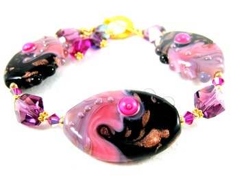 Hot Pink Gold Black Purple Bracelet, Statement Bracelet, Glass Bracelet, Lampwork Bracelet, Gold Filled Bracelet, Chunky Bracelet  Sand Art