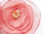 Orange wedding table decoration flowers, chiffon fabric flowers x 10 CORAL