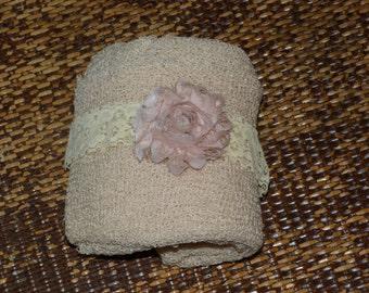 Newborn Photography Stretch Wrap and Headband Set