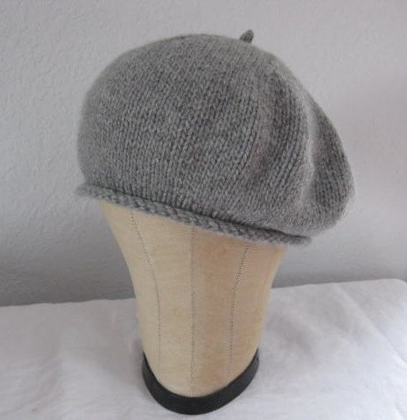 Gray Cashmere Beret. Hand Knit Hat for Women or Men. Accessories.