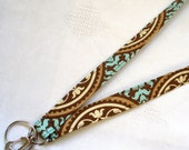 Fabric Lanyard Breakaway Lanyard Badge Holder Joel Dewberry Fabric ID Clip Key Ring Fob Aviary Scrollwork Brown Aqua