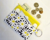 Fabric Wallet Daisy Doolittle Zipper Coin Purse Card Slot Key Ring Fob Michael Miller Change Purse Citron Yellow Gray White MTO