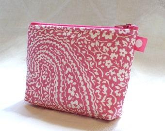 Cosmetic Bag Makeup Bag Gadget Bag Zipper Pouch Paisley Raspberry Pink Cream Handmade MTO