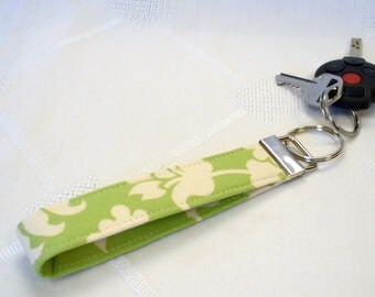 CLEARANCE SALE Amy Butler Fabric Wristlet Key Chain Fob Keyring Ring Love Bali Gate Grass Jade Green Damask Fabric Key Fob