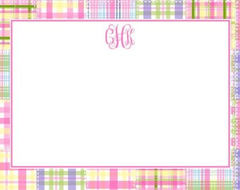 Pink Madras Patch Personalized Notecard or Invitation Set