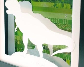 Set of 3 Dinosaur shadowboxes - made from recycled magazines, dinosaur, extinct, boy room, Jurassic Park